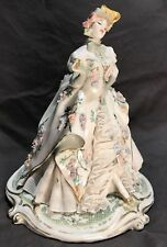 Capodimonte Italy Lady In Victorian Dress Dresden Lace Porcelain Figurine Ginori