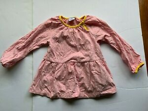 POLARN O. PYRET (sweden) pink dress with white spots and yellow trim size1.5-2y