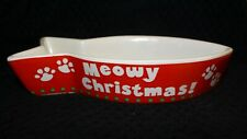 Holiday Meowy Christmas Cat Dish - Bowl for Food or Water - Multicolor