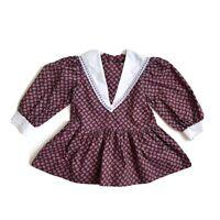 Vintage 80's Paisley Print Dress Cottagecore Collar Lace Trim Girls Size 2T