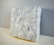 White & Silver Textured Tissue Paper Mixed Media Art Wall Decor