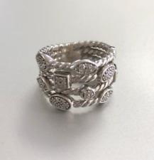 David Yurman Sterling Silver 4-Row Pave Diamond Confetti Ring Size 5