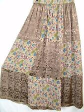 Sk193~Tienda Ho~BROWNS~Patchwork~EMBROIDERED~Rayon~FLORAL~Maxi Skirt~OS 1X?