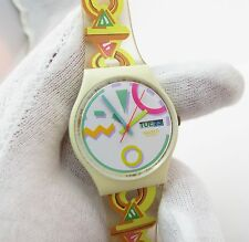 SWATCH, RARE Band, Day/Date, Unique Color Scheme, UNISEX WATCH,840, L@@K!