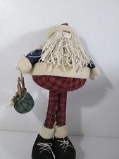 "Fabric Santa Figurine Christmas Decoration 14.5"" Curly Yarn Beard"