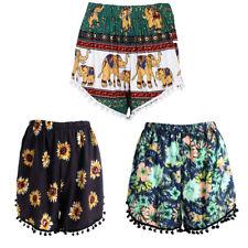 Women Summer Beach Shorts Tassel Boho Printed Loose Casual High Waist Pants Hot