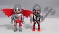 PLAYMOBIL 2 Ritter Drachenritter geflügelter Ritter rot Axt Schwert Helm # 11