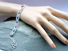 Con cuentas de la fertilidad diosa Celta Pulsera Opalita Cristal Rojo Granate pagano Yule