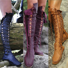 Women Knee High Knight Boots Boot Combat Gladiator Lace Up Flats Punk Shoes Goth