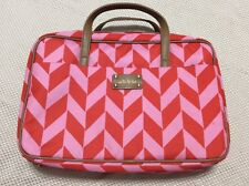 Stella & Dot Carry It All Pink Orange Chevron Jewelry Cosmetic Travel Bag Tote