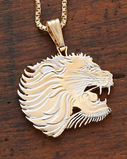 "Lion Pendant & Necklace. African Coin Hand cut. 1-1/8"" diameter ( # 459 )"
