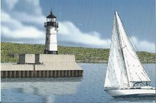 Postcard Minnesota Duluth North Pier Light Sailboat MINT Lundstrom