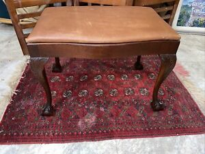 Mahogany Chippendale Style Claw Foot Bowtie Bench