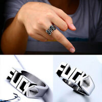 Unisex Creative Letter Gothic Punk Rock Biker Finger Rings Vintage Jewelry Gifts