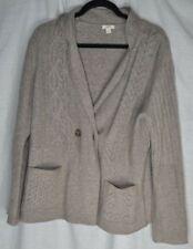 J Jill Knit Cardigan Sweater Tan Light Brown Cable Women's M Cashmere Merino