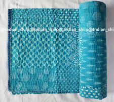 Indian Cotton Kantha Quilt Hand Block Printed Patchwork Assorted Twin Bedspread
