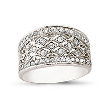 STERLING SILVER LADIES CUBIC ZIRCONIA CZ BOMBAY ETERNITY BAND WEDDING RING BOX