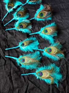 10x PEACOCK FEATHER.& MARABOU.FEATHER BUTTONHOLES WEDDING.GUEST.GROOM.OCC.