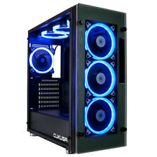 CUK Stratos Gaming Desktop Case 7 Remote Controlled Halo RGB LED Fans & Window