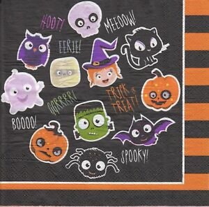3 Lunch Papier Servietten Napkins (FF32) Halloween Cat Katze Eule Hexe