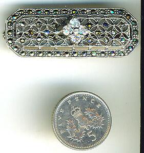 """925 Sterling Silver Art Deco Style Marcasite & Clear Zircona Brooch Width 1.1/2"""""""