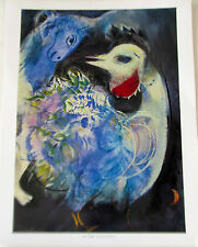 Marc Chagall-Flowers and Feathers Poster Bird in Garden Offset Lithograph 14X11