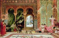 "No framed oil painting Arabian Peninsula custom men girls and animal Leopard 36"""