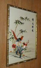 STUNNING ANTIQUE SILK JAPANESE CHINESE ASIAN ORIENTAL BAMBOO DESIGN FRAME ART