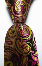 New Classic Paisley Gold Brown Red JACQUARD WOVEN 100% Silk Men's Tie Necktie