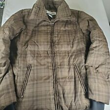 Columbia Womens Down Coat Puffer Jacket Sz Large Brown Plaid