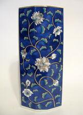 Water Lilly Japanese Pottery Vase 6 Inches Navy Blue Etude Takahashi 1986