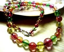 "Natural 6-12mm Multicolor Tourmaline Round Beads Necklace 18"" JN186"