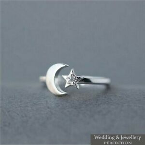 100% 925 Sterling Silver Ring Star & Moon Band Open Finger Toe Fully Adjustable