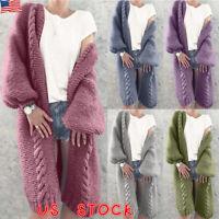 Women Long Cardigan Midi Coat Casual Sweater Long Sleeve Knitted Outwear Jacket