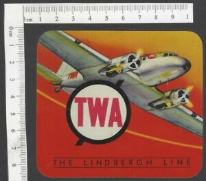 TWA The Lindbergh Line vintage baggage luggage label