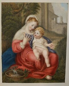 Antique Miniature Painting Madonna Virgin Child Correggio Italian Old Master
