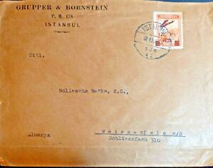 1928 Turkey Germany Grupper & Bornstein Cover Sent from İstanbul with plane stp