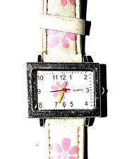 Girlie Floral Quartz Watch With Floral Leather Strap Rare design good Quality.