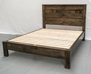 Rustic Farmhouse Platform Bed & Headboard - King / Wood Platform Reclaimed Bed /