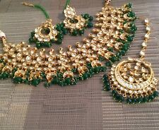 Indian Kundan jewellery set, gold Plated earrings Necklace Emeralds  Beads Big