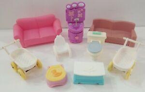 Plastic  Dollhouse Furniture chair toliet carriage sofa more 9 Piece Vintage