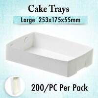 200 Paper Food Tray Large 253x175x55mm,Takeaway Cakes Chips Disposable