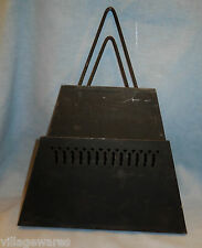 Antique Art Deco Hanging Black Metal Newspaper or Magazine Holder for Wall