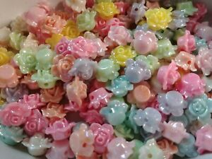 Resin Flower Beads 13mm Assorted Beads Rose Beads 13mm Beads BULK Beads 25/50
