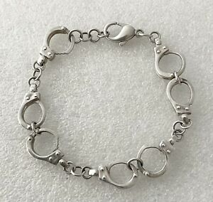 VERY UNUSUAL WELL MADE HALLMARKED STERLING SILVER HANDCUFFS CHAIN LINK BRACELET