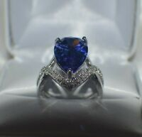 GLAMOROUS 8 CARAT  PREMIUM AAAA TANZANITE & 40 VVS DIAMOND COCKTAIL RING  SIZE 8