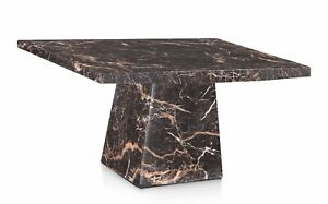 Marble dining table 110cm square solid genuine marble