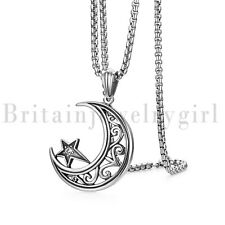 Vintage Stainless Steel Moon Hug Star Pendant Necklace for Men Women 22""