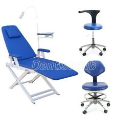Dental Foldable Chair Led Light Rechargeabledentist Mobile Chair Stool 4 Caster