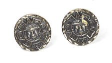 Mayan Aztec 23mm Round Cufflinks Sterling Silver Mexico Eagle 10